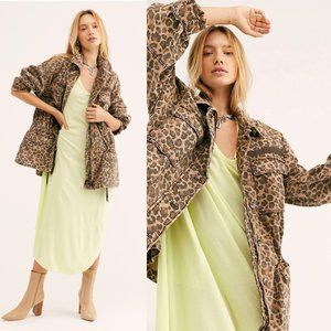 Free People Seize The Day Jacket Leopard Oversized